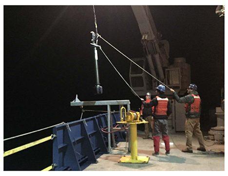 Deployment of a biogeochemical float from the back deck of the R/V Atlantis. Photo: Lee Karp-Boss