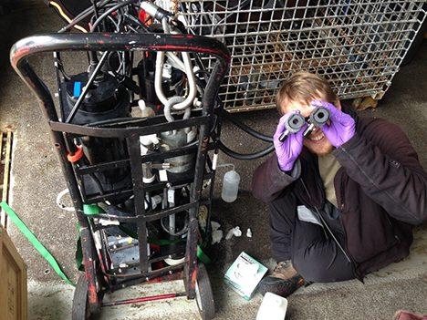 James Allen checking the Optical Tubes on the IOP frame. Photo: Stuart Halewood