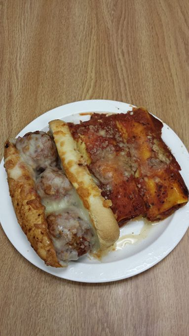 Meatball sub and Manicotti from today's lunch menu.