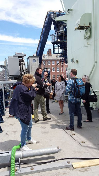 Peter Gaube talking to NASA social guests about on deck operations