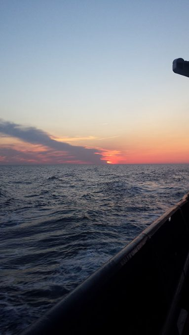 Sunset onboard the RV Atlantis after departure from WHOI, Photo:Kristina Mojica