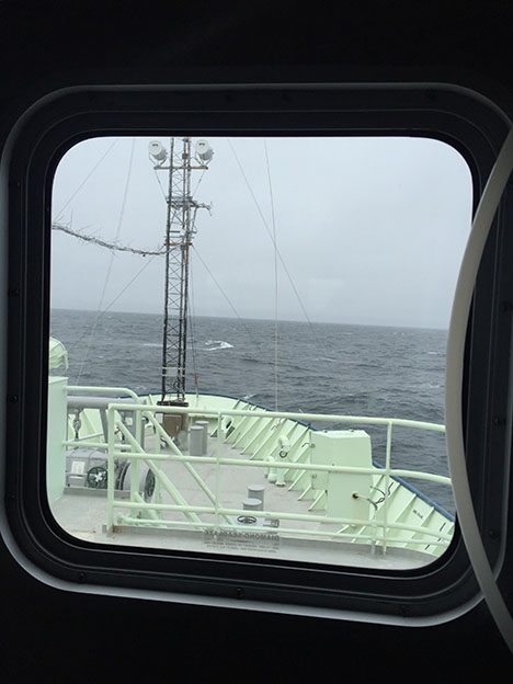 The mast set-up from the window of the van