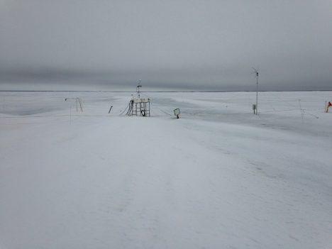 An ice mass balance station in Barrow, AK.