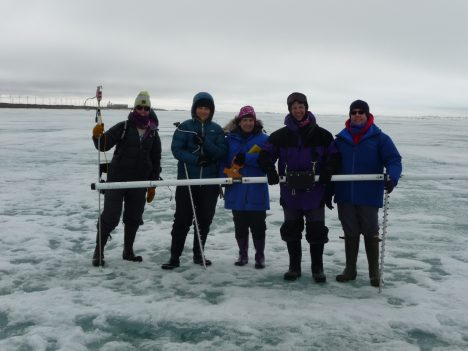 The Red Team on sea ice.