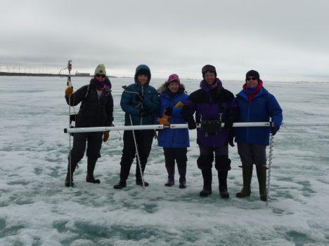 The Red Team on sea ice.