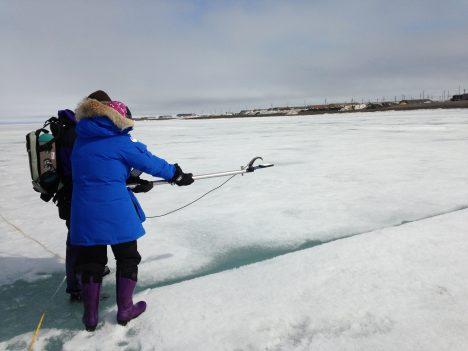 Measuring sea ice albedo.