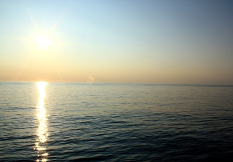 Watching the sunrise at 5 am from the O2 deck of the RV Atlantis. Photo: Cleo Davie-Martin