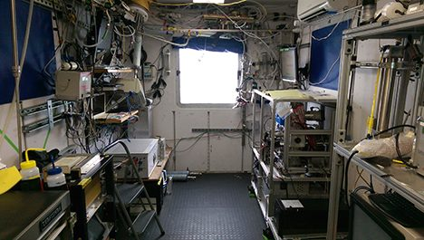 A view of the interior of the Russell group aerosol sampling van.