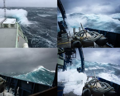 Images from 'the blow' experienced on-board the Atlantis. Photo: Lee Karp-Boss (top left), Nils Haentjens  (top right and bottom left), : Cleo Davie-Martin (bottom right)