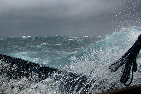 A wave splashing on deck of the RV Atlantis during 'the blow'. Photo: : Cleo Davie-Martin