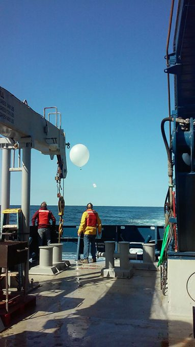 Cyril McCormick and Jim Johnson launching the first radiosonde from the aft deck of the RV Atlantis. Photo: Kelsey McBeain