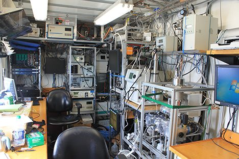 This is the inside of one of our aerosol vans with assorted particle counters, and several devices to measure the particle size spectrum.   Photo: Jim Johnson
