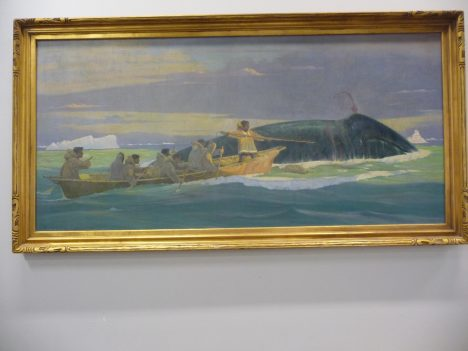 A painting of whale hunting at the Inupiat Heritage Center.