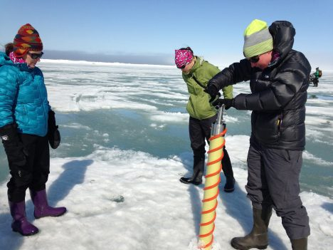 The Red Team drilling an ice core of sea ice.