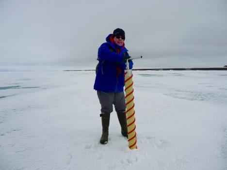 Walt Meier coring sea ice.