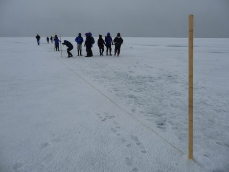 Laying out the sampling line.