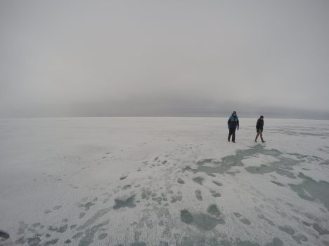 Out on  the ice.
