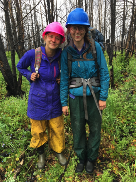 Liz Wiggins and Jocelyne LaFlamme, packed up and ready to walk to the next field site.