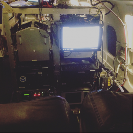 The AMP (aerosol microphysical processes) rack installed on the DC8. We run all 5 instruments from this monitor, and check the data as it comes in during the flights. (Credit: Christina Williamson)