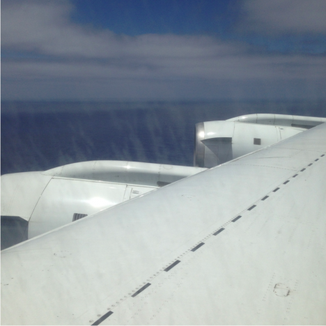 Photo from the DC-8 flying low over the Pacific Ocean on the first ATom test flight. (Credit: Christina Williamson)