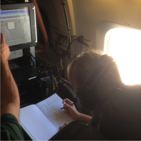 Agneiszka Kupc, research scientist with NOAA/University of Vienna, monitoring data during the first ATom test flight. (Credit: Christina Williamson)