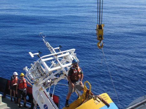 Ben Pietro readies a buoy for deployment.