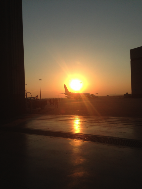 The DC-8 on the ramp at NASA Armstrong for our sunrise boarding. Credit: Christina Williamson