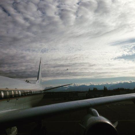 The DC-8 preparing to leave Anchorage, Alaska (credit: Christina Williamson).