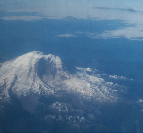 Mount Rainer viewed from the DC8 flying from Palmdale CA to Anchorage AK (Credit: Christina Williamson).