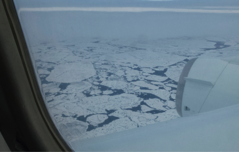 Flying over the arctic on the DC8 (Credit: Christina Williamson).