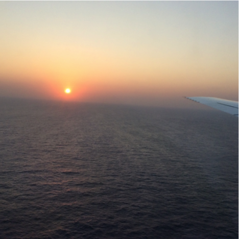 Dense smoke and haze obscure the sunset as we approach Ascension Island, in the center of the tropical Atlantic Ocean. Compare this image with the sunrise that we observed on departing Chile! Photo: Steven Wofsy