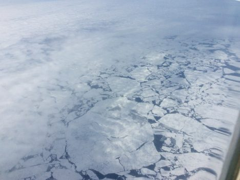 Our first glimpse through the clouds of the floating ice at 79o N on 1 August 2016. Credit: Steve Wofsy
