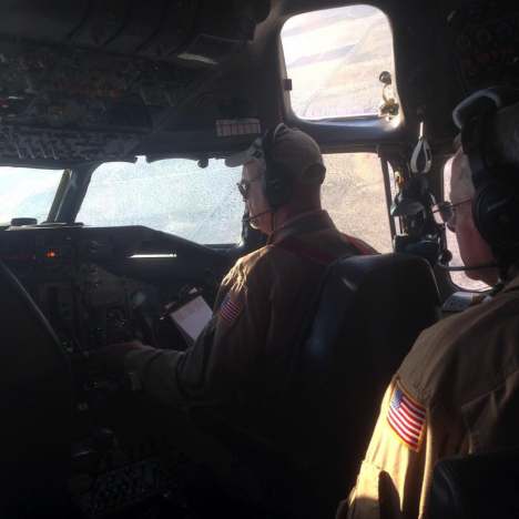 In the cockpit during landing back in California. Credit: Christina Williamson