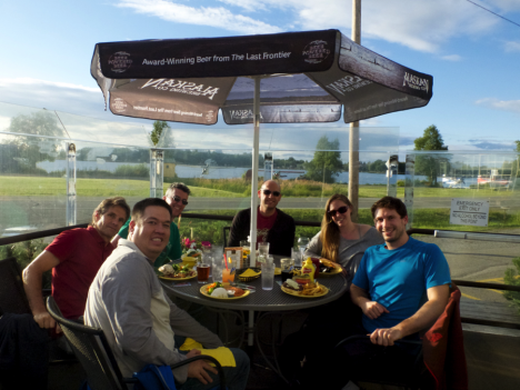Some of the ATom science team having dinner in Anchorag, Alaska. From left to right: Eric Apel (UCAR), Kirk Ullmann (UCAR), Jeff Peischl (CIRES/NOAA), Joseph Kaitch (CIRES/NOAA), Christina Williamson (CIRES/NOAA), Maximilian Dollner (University of Vienna).