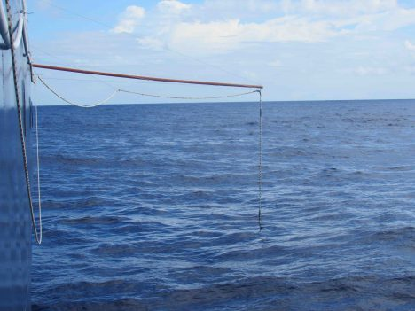 The Salinity Snake being deployed over the starboard side.