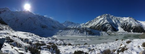 Snow blowing from the mountains onto the glacier in Aoraki/Mount Cook National Park, New Zealand. Credit: Róisín Commane