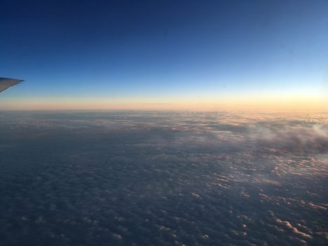 Watching the sun set mid-way through our flight from New Zealand to Punta Arenas, Chile. Credit: Róisín Commane