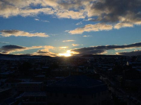 Our first sunset in Punta Arenas, Chile. Credit: Róisín Commane
