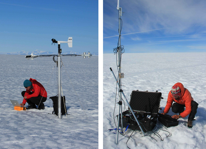 Downloading data from both the Utrecht weather station (left) and our other station logging 50 temperatures in the firn and water-table level changes (right).