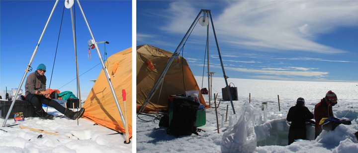 Drilling (left) and processing the firn and ice cores (right).