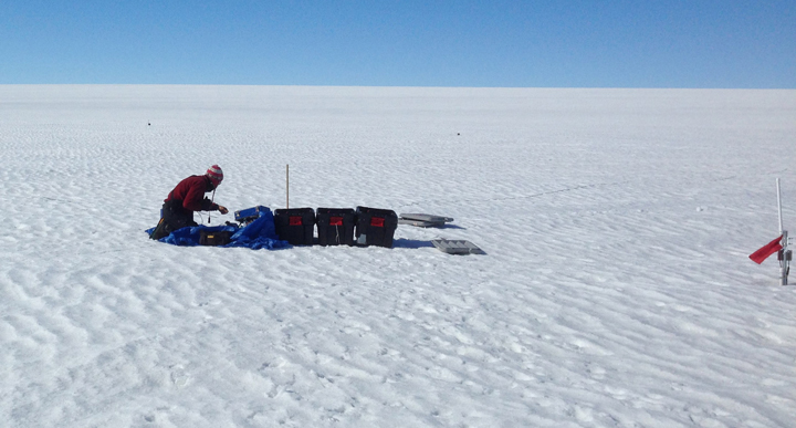 Getting the MRS measurement started after setting up the 80 by 80 m loop. On the right, one of our logging station after one year of data collection, only the top of the mast (ARGOS antenna) is above the snow surface.