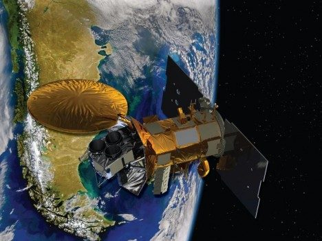 A representation of the SAC-D spacecraft, which carried the Aquarius instrument.