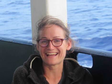 Audrey Sasson, from the French space agency, aboard the R/V Revelle.