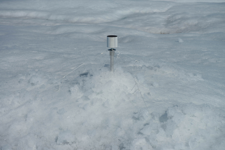 This is one of our LiDAR reflectors. We also use a differential GPS to survey the precise location of each of these LiDAR reflectors. We started all of our LiDAR scans and GPS surveys at 3 am each morning to minimize movement of the LiDAR and the GPS due to melt. (Photo by: Charlie Kershner).