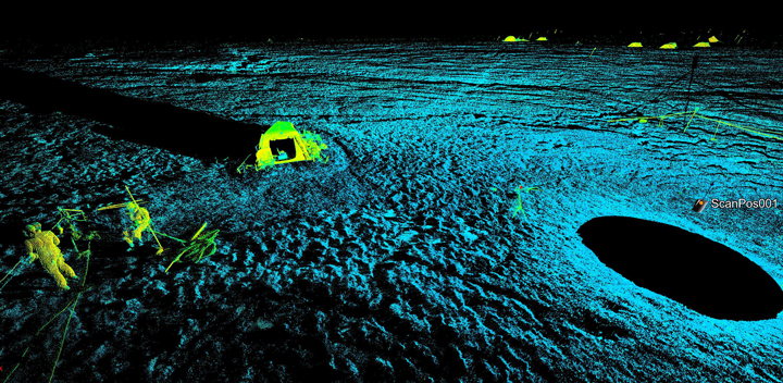 Here is a screen shot of a 3D LiDAR scan point cloud featuring one of our tents that we used to keep batteries, instruments and people warm while at ice camp.