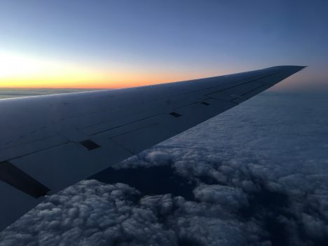 Flying into the sunrise. Photo by Róisín Commane