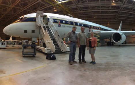 Steve Wofsy (ATom PI), Bruce Daube and Róisín Commane with the DC-8 in a nice and cool hanger in Palmdale, CA. Credit: