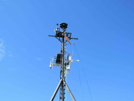 One of the numerous meteorological masts installed on the R/V Revelle for SPURS-2.