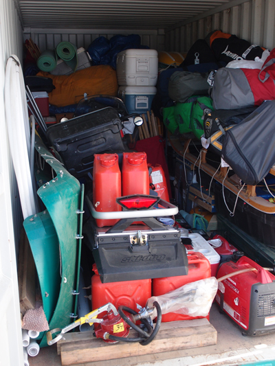 All our stuff in the container.