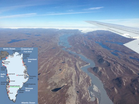 This image shows a deglaciated region in western Greenland, with the ice cap in the background. (Inset: Map of Greenland, showing location of our landing site at Kangerlussuaq at 67o N, 50.7 W). According to Richard Alley of Penn State University, this area around Kangerlussuaq was deglaciated at the end of the last ice age, 8-10,000 years ago, but ice returned and scraped the ridges bare during the Little Ice Age, a period between about 1300 and 1870 AD during which Europe and North America had colder winters than in the 20th century.